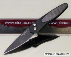 protech knives newport auto carbon fiber black plain blade 3416