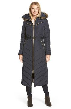 MICHAEL Michael Kors Belted Long Quilted Down & Feather Fill Coat with Faux Fur Trim Hood available at #Nordstrom