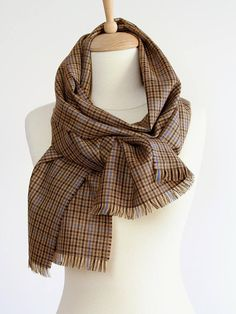 Fine Wool Men's Scarf in Kyle Check - Brown Plaid Neck Scarf - Lightweight Wool Scarf - Pure New Worsted Wool Tweed - Gift for Him / Husband Neck Scarves, Wool Scarf, Gifts For Him, Happy Shopping, Tweed, Husband, Pure Products, Shawls, Brown