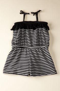 Hula Mula  Short Romper - Black and White Stripes