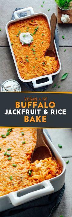 Buffalo Jackfruit & Rice Bake – Full of Plants Buffalo Jackfruit & Rice Bake - Delicious Vegan Recipes Vegan Dinner Recipes, Veggie Recipes, Whole Food Recipes, Vegetarian Recipes, Cooking Recipes, Healthy Recipes, Pasta Recipes, Free Recipes, Jackfruit Recipes
