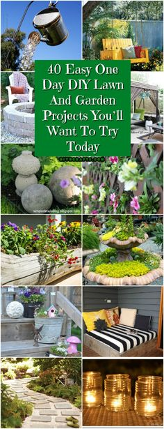 40 Easy One Day DIY Lawn And Garden Projects You'll Want To Try Today #diy #gardening #lawn #decor #outdoordecorating via @vanessacrafting