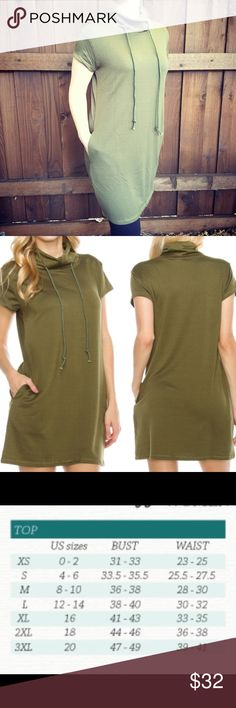 "NEW Sweatshirt Dress S,M,L Short Sleeve Green A wardrobe must-have whether coming to/from the gym or kicking back on the weekend with your favorite leggings! Hidden side pockets on right and left. Drawstring mock turtleneck. 60% Poly, 35% Cotton, 5% Spandex 33.5"" long Made In USA  ✅ Yes I Like Offers ✅ Bundle Discounts 🎁 Free Gift $35 orders pre-shipping ❌ Trades Boutique Dresses Mini"