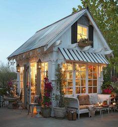 Backyard Cottage, Backyard Sheds, Backyard Retreat, Garden Sheds, Backyard House, Backyard Studio, Cozy Cottage, Cottage Style, Outdoor Rooms