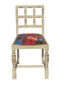 Distressed kitchen chair with patchwork seat