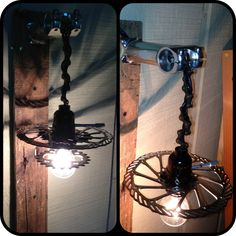Lamp made from repurposed bike parts
