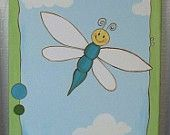 Hand Painted Dragonfly on Canvas, Nursery Wall Decor, Children's Art, Frog, Turtle