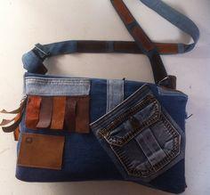 Bruine leren tas en spijkerbroek krijgen samen een nieuwe leven in een nieuw ontwerp! www.creacrola.nl