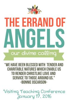 Relief Society Flyer Handout Errand of Angels LDS Enrichment or Visiting Teaching