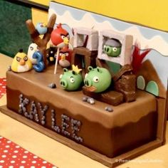 Angry birds birthday cake Angry Birds Birthday Cake, 5th Birthday Boys, Bird Birthday Parties, Angry Birds Cake, Birthday Cakes, Birthday Ideas, Video Game Cakes, Novelty Cakes, Cookie Decorating