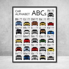Alphabet Cars, Alphabet Poster, Alphabet Print, Alphabet Nursery, Elephant Nursery, Boy Car Room, Boy Nursery Cars, Baby Boy Nurseries, Car Themed Nursery