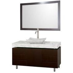 Wyndham Collection Malibu 48 in. Vanity in Espresso with Marble Vanity Top in Carrara White with Sink and Mirror-WCS300048ESCWGS3 at The Home Depot