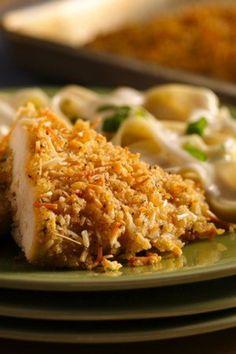 Crunchy chicken with cheesy panko crispy bread crumbs!