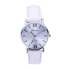 2016 Mulheres de Genebra pu pulseira de couro de pulso Relógios Lady Feminino…