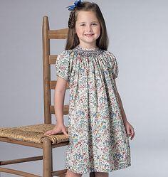 Utterly adorable smocked dress sewing pattern by Malia Janveaux for Kathryn Brenne. Vogue Patterns V9177, Children's/Girls' Smocked Raglan-Sleeve Dresses