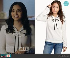 Veronica's white bow neck top on Riverdale. Outfit Details: https://wornontv.net/89766/ #Riverdale
