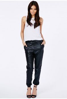 Missguided - Prala Faux Leather Joggers