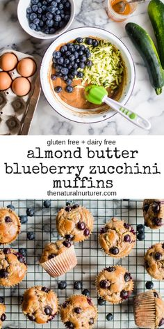 These Almond Butter Blueberry Zucchini Muffins are easy fluffy and so delicious Paleo gluten free dairy free but no one will be able to tell Healthy Food Recipes, Dairy Free Recipes, Healthy Baking, Baby Food Recipes, Whole Food Recipes, Diet Recipes, Healthy Snacks, Vegan Recipes, Paleo Food