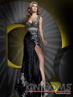 One-shoulder sequined slim A-line pageant dress with flower appliquéd single shoulder strap, sweetheart neckline, flower appliqués trim Empire bodice and cascade down skirt with high side slit and sweep train. Sizes: 0 - 20