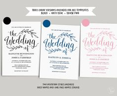 This wedding invitation set includes five high resolution templates in three colors (Black, Navy Blue, Blush Pink): invitation card (2 versions), rsvp card (2 versions), details card, monogram and date seal/tag templates. These are INSTANT DOWNLOAD printable wedding invitation templates that are affordable, stylish and high-resolution. You can edit and print as many as you need. Print on kraft paper for rustic style or white/cream paper for an elegant classic look. Navy Blue and Blush Pink…