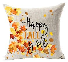 "Happy Fall Y/'all Leaf Throw Pillow Case Cushion Cover Decorative 18/"" X Home"