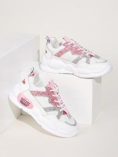 To find out about the Lace-up Front Glitter Trainers at SHEIN, part of our latest Sneakers ready to shop online today! Vans Sneakers, Sneakers Mode, Latest Sneakers, Casual Sneakers, Sneakers Fashion, Casual Shoes, Fashion Shoes, Dr Shoes, Only Shoes