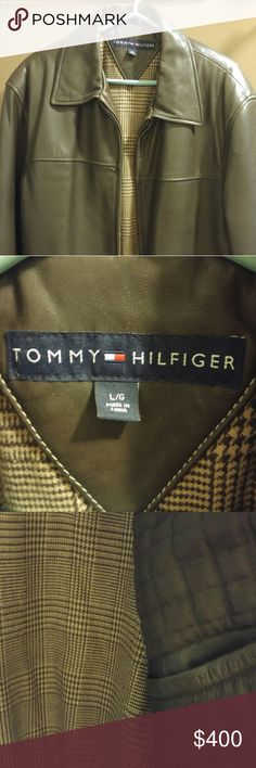 Tommy Hilfiger leather jacket Gently used cond Men's large Genuine leather Tommy Hilfiger Jackets & Coats