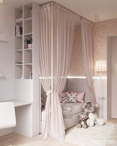 Room Decor Ideas Black - Contemporary Neutral Homes That Don& Need Bold Color To Wow. Drapes match walls and bedding. Lyddie's hangout space Girls Bedroom Colours, Child Bedroom Lighting Ideas Looks cool, isn't it? blush pink canopy little girl's room