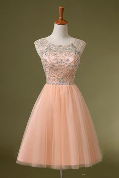 Lovely Short Pink Tulle New Style Prom Dresses 2015 With Beadings, Short Prom Dresses 2015, Formal Gowns, Evening Dresses