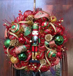 Traditional Nutcracker Wreath by HertasWreaths on Etsy, $165.00
