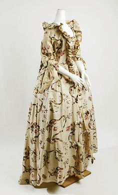 Dress  Date: 1750–75 Culture: French Medium: cotton Dimensions: [no dimensions available] Credit Line: Gift of Mr. Lee Simonson, 1939 Accession Number: C.I.39.13.185a–d