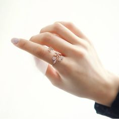 'Butterfly Aside Flowers' Adjustable Ring