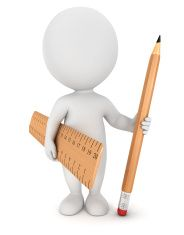 3d white people with pencil and ruler stock photo