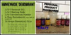 Homemade deodorant using essential oils Lemon-drains the lymph area Cedarwood and Valor (Manly) Thieves (Neutral) Lavender (Girly)