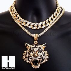 Pandora Jewelry OFF!> Hip Hop Iced Out Premium Drake Tiger Miami Cuban Choker Tennis Chain Necklace B Jewelery, Jewelry Necklaces, Cameo Jewelry, Gold Jewellery, Pendant Jewelry, Mens Chain Necklace, Black M, Gold Chains For Men, Tiger