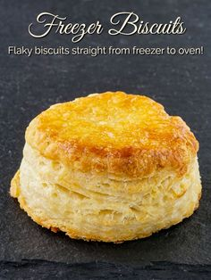 Perfectly flaky, buttery biscuits from previously formed and frozen dough. You'll want to make extra biscuits every time now, to freeze some for later. Frozen Biscuits, Tea Biscuits, Buttery Biscuits, Biscuits And Gravy, Homemade Biscuits, Breakfast Recipes, Dessert Recipes, Desserts, How To Make Biscuits