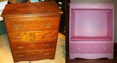 Before & after of our first repurpose project. Son Web did most of the work with a bit of help from me. I picked up the dresser at ReStore for 12.Web gutted, sanded, primed, painted & installed the clothes hanger bar. I made the cushion & added matching fabric drawer front. Web added nice drawer pulls and voila!  A little girl gets a dresser where her mom can hang the next morning's outfit, put socks & undies in the drawer, and little girl can feel like a big girl when she gets dressed herself!