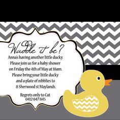 Chevron grey yellow rubber duck baby shower invite