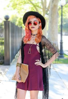 Oriana Shift dress in deep purple, a copper necklace, a thrifted leather clutch, black lace shawl, reflective round sunglasses, and round black felt-hat