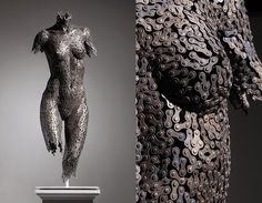 Sculpture made from bicycle chain  - 8 Ways to Use Recycled Bicycles in Your Home