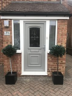 No longer a white upvc front door. painted in Frenchic Afresco City Slicker Painted Upvc Door, Painted Front Doors, Coloured Upvc Windows, French Chic Paint, Front Doors With Windows, House Front, Front Porch, Diy Apartment Decor, Rustic Cottage