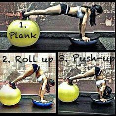 Plank using fit ball and bosu ball