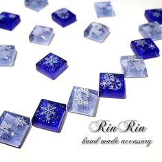 【雪の結晶】ガラスタイル ピアス・イヤリング