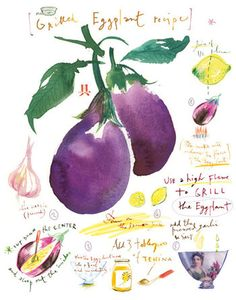 Grilled eggplant recipe, Kitchen print, Food illustration, Vegetable art, Botanical poster, 11X14, purple, watercolor
