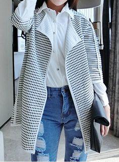 Plus Size Half Sleeve Scoop Neck Color Block Plaid Women's CoatCoats   RoseGal.com