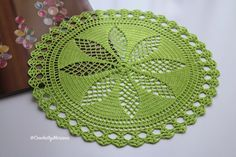 Lime green Doily Crochet doily Round crochet by CrochetbyMariana