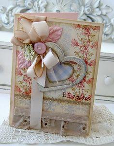 Shabby layered dimensional heart Bmine card