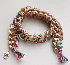Rainbow Chains Wrapped Bracelet   AllFreeJewelryMaking.com