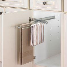 inside cabinet towel holder | ... Sink > Kitchen Towel Holders > Cabinet Pull-Out Towel Bar - Chrome