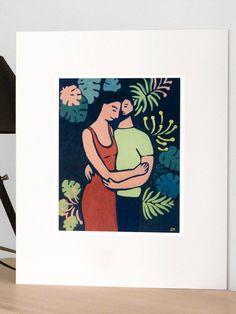Le câlin, peinture acrylique et pigments, impression en édition limitée, tirage pigmentaire Beaux Arts (Fine Art)